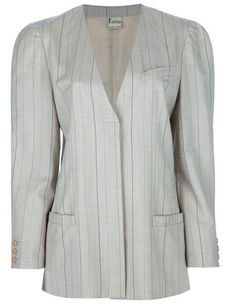 Бежевый костюмный вязаный юбочный костюм Krizia Pre-owned