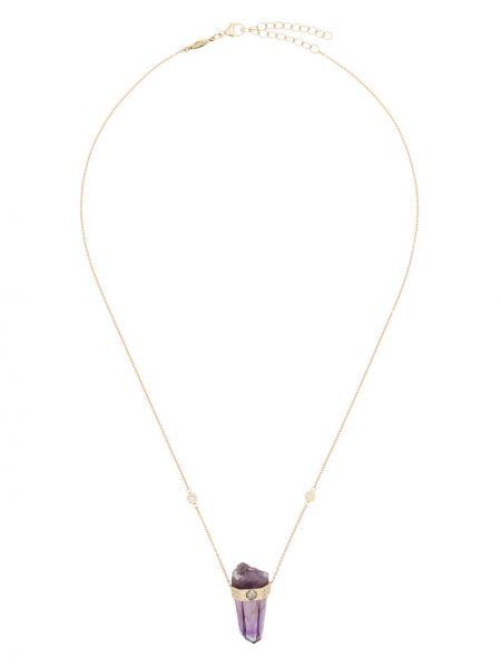 Fioletowy złoty naszyjnik łańcuch z diamentem Jacquie Aiche