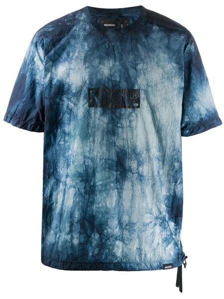 С рукавами синяя футболка свободного кроя с круглым вырезом Nemen
