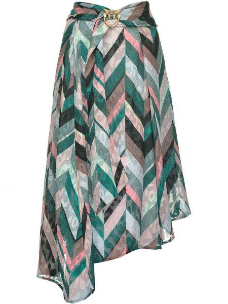 Różowy asymetryczny spódnica z klamrą Pinko
