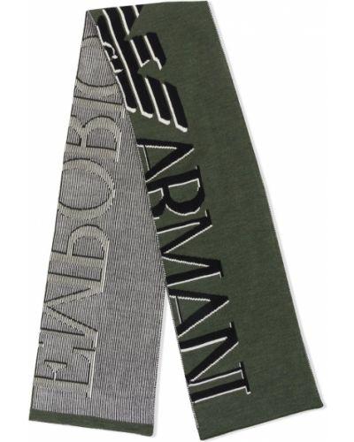 Черный шерстяной шарф с опушкой Emporio Armani Kids
