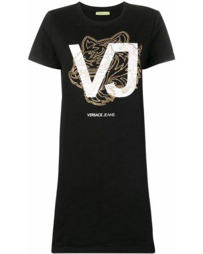 Футбольное черное платье мини Versace Jeans