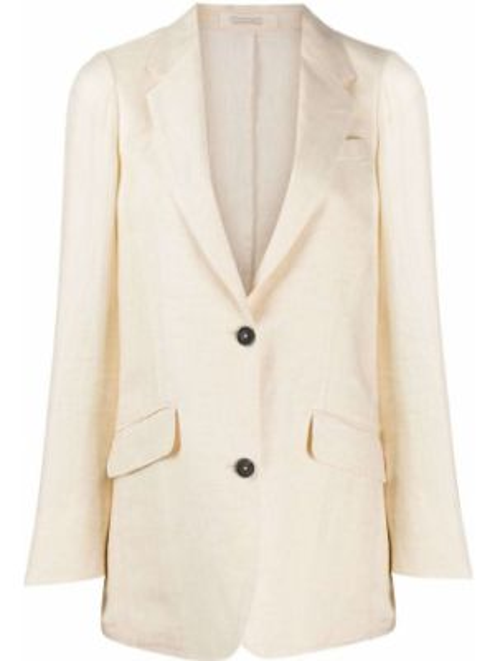 Льняной бежевый пиджак с карманами Massimo Alba
