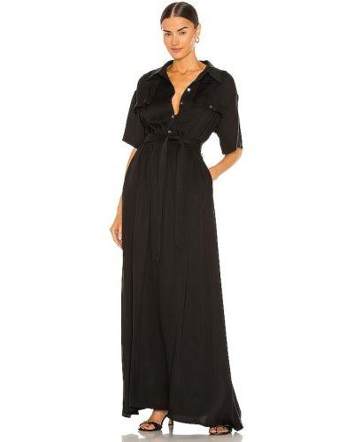 Черное платье макси для полных на резинке L'academie