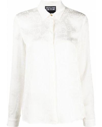 С рукавами белая джинсовая рубашка с воротником Versace Jeans Couture