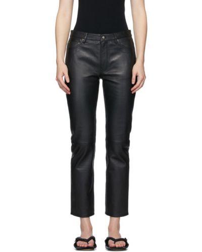 Кожаные черные укороченные брюки с карманами Won Hundred