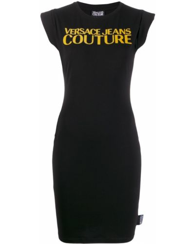 Черное футбольное джинсовое платье Versace Jeans