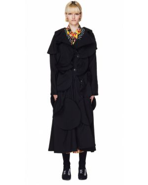 Шерстяное пальто - черное Yohji Yamamoto