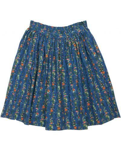 Хлопковая синяя юбка миди эластичная Molo