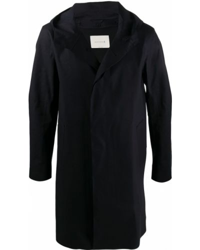 Długo czarny prochowiec z kapturem od płaszcza przeciwdeszczowego Mackintosh