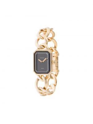 Золотистые кварцевые часы золотые прямоугольные Chanel Pre-owned