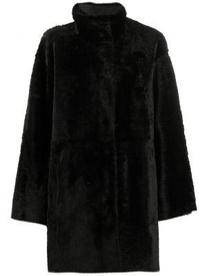 С рукавами черное длинное пальто двустороннее из овчины Drome