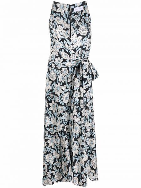 Шелковое синее платье с запахом Christian Wijnants