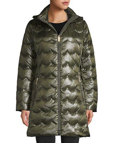 Пуховое длинное пальто с капюшоном с воротником Kate Spade New York