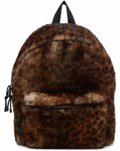 Satynowy czarny plecak na laptopa z printem Vetements