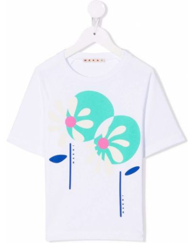 Biała koszulka z printem Marni Kids