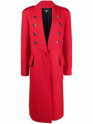 Красное пальто на пуговицах Balmain