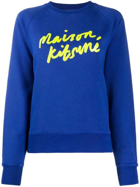 Хлопковая синяя толстовка в рубчик с круглым вырезом Maison Kitsuné