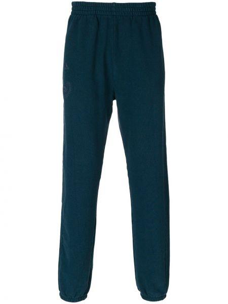 Niebieskie spodnie bawełniane z haftem Yeezy