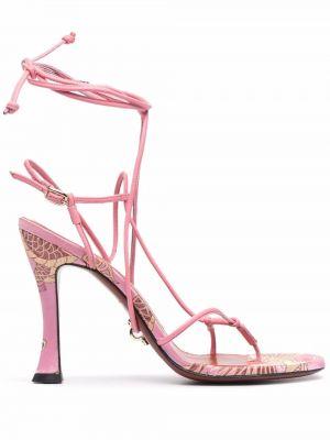 Кожаные сандалии - розовые Rotate