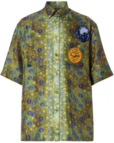 Зеленая шелковая рубашка Burberry