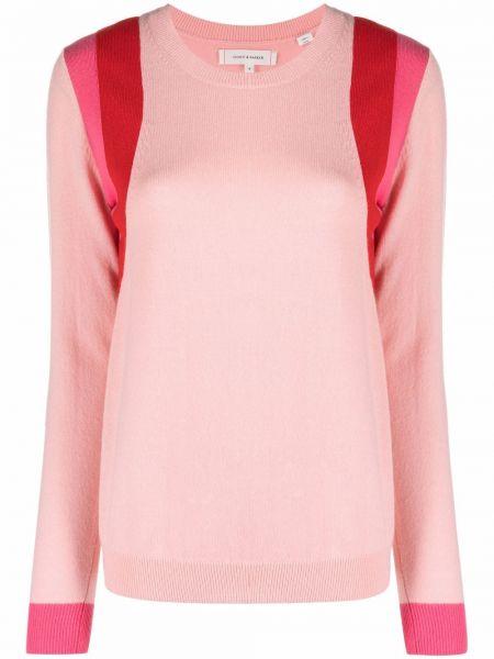 Розовый шерстяной длинный свитер в полоску Chinti And Parker