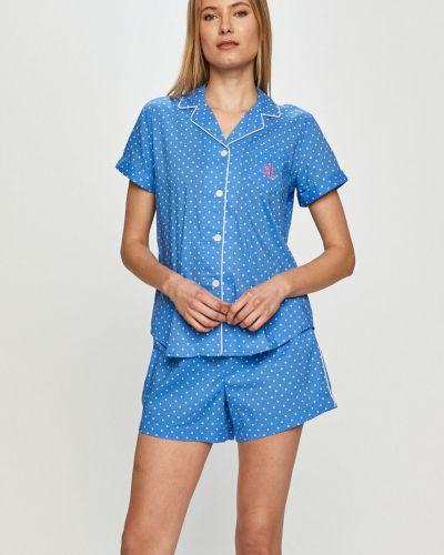 Piżama bawełniana krótki rękaw zapinane na guziki Lauren Ralph Lauren