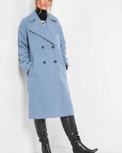 Niebieski długi płaszcz wełniany z długimi rękawami Orsay