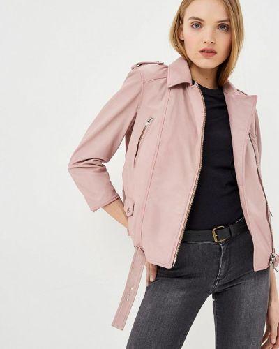 Кожаная куртка весенняя розовая Blouson