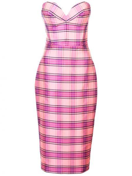 Розовое платье миди с воротником с вырезом на молнии Christian Siriano