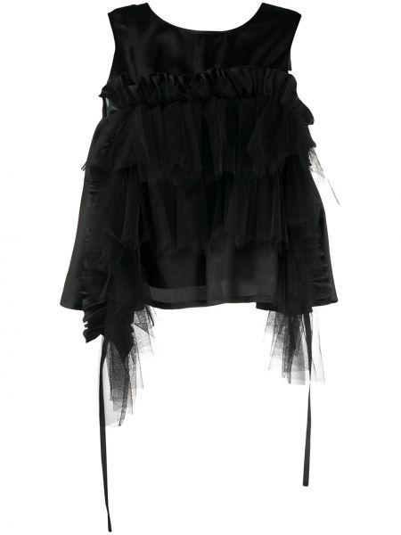 Черный топ с оборками из фатина без рукавов Comme Des Garçons Noir Kei Ninomiya