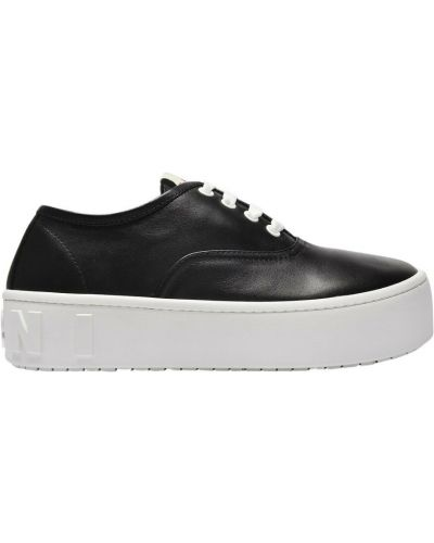 Czarne sneakersy na platformie Marni