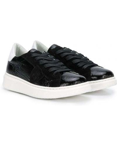 Кожаные черные кроссовки на шнуровке Philippe Model Kids