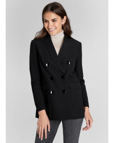 Шерстяной приталенный черный пиджак с воротником Ostin