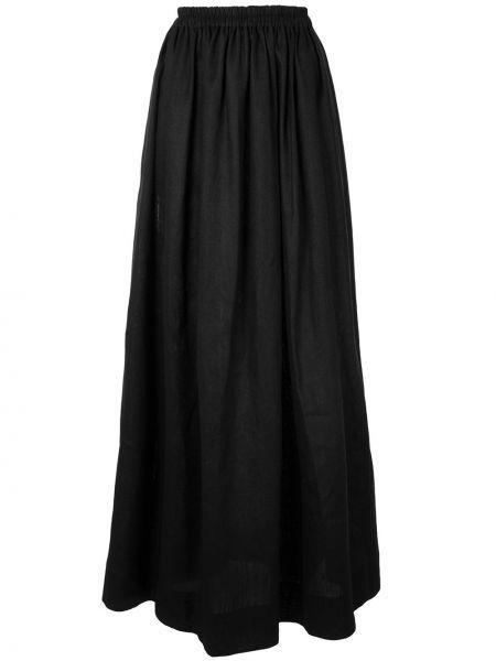 Хлопковая черная с завышенной талией юбка макси Matteau