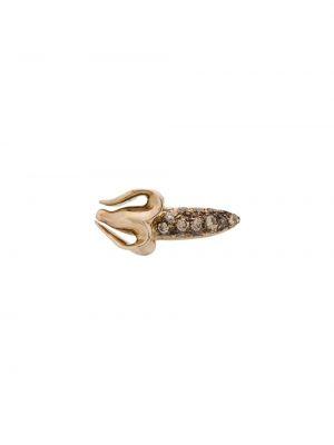 Серебряные серебряные серьги с бриллиантом на кнопках Bibi Van Der Velden