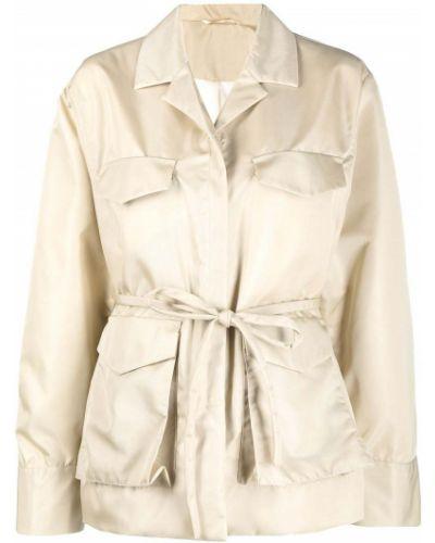 Длинная куртка хаки с воротником с карманами Toteme