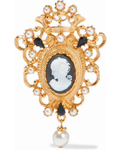 Złota broszka perły pozłacana Ben-amun