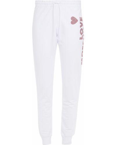 Spodnie bawełniane - białe Love Moschino