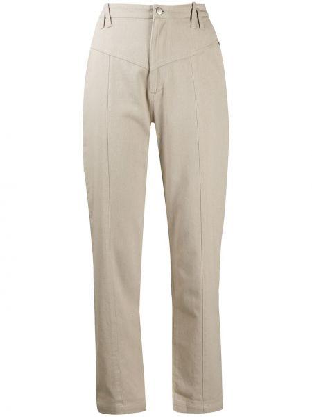 Бежевые прямые брюки с накладными карманами с высокой посадкой Iro