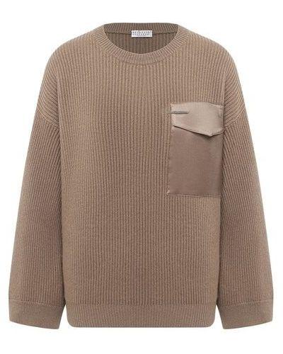 Свободный бежевый кашемировый свитер Brunello Cucinelli