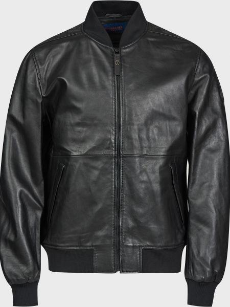 Кожаная куртка на молнии - черная Trussardi Jeans
