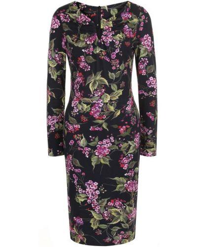 Платье миди с цветочным принтом с V-образным вырезом Escada