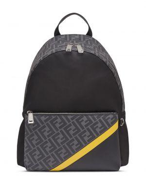 Czarny plecak skórzany z printem Fendi