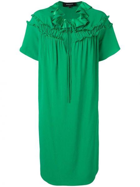 Zielona sukienka mini z falbanami krótki rękaw Rochas