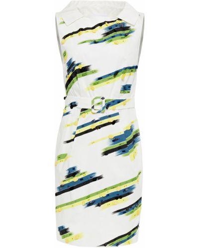 Плиссированное белое платье с пайетками Moschino