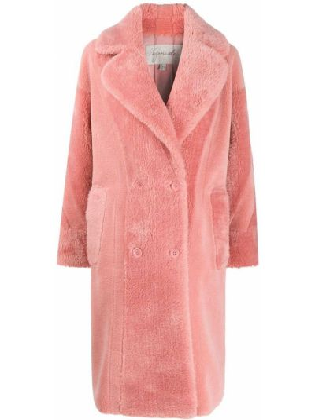 Розовое длинное пальто с воротником на пуговицах двубортное Urbancode