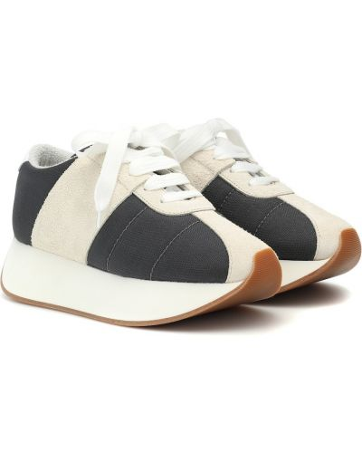Кожаные кроссовки замшевые сетчатые Marni