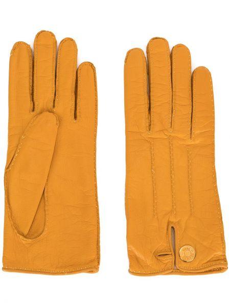 Золотистые желтые кожаные перчатки Hermes