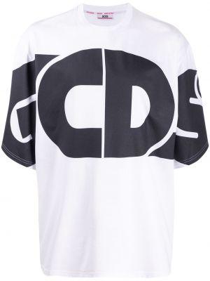 Хлопковая белая футболка свободного кроя в рубчик Gcds